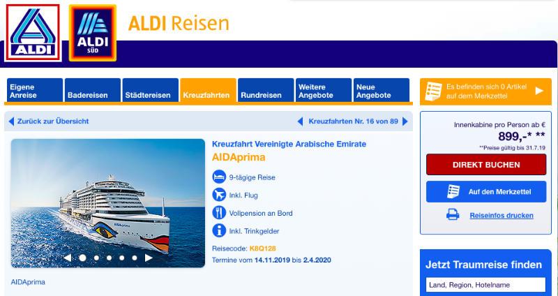 Screenshot ALDI Reisen mit AIDA