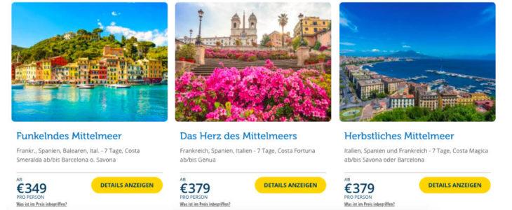 Screenshot Flash Sale Webseite - Bildquelle: Costa Kreuzfahrten - B