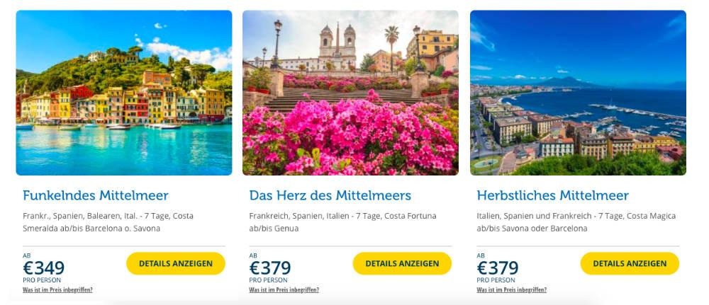 Screenshot Flash Sale Webseite - Bildquelle: Costa Kreuzfahrten