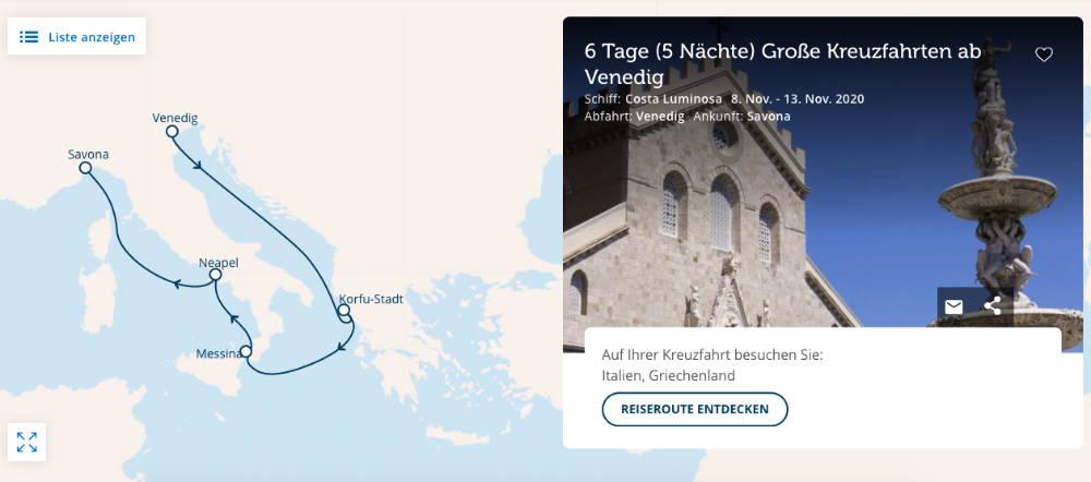 Einmal um Italien herum mit der Costa Luminosa - Bildquelle: Costa Kreuzfahrten