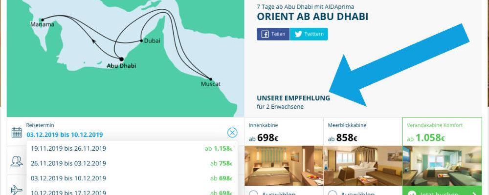 AIDA Orientkreuzfahrt - Screenshot: AIDA