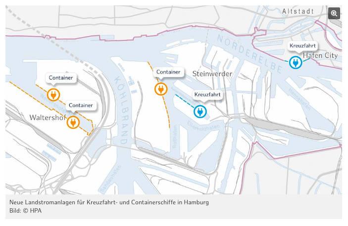 Hamburger Hafen: Neue Landstromanlagen - Bildquelle: HPA