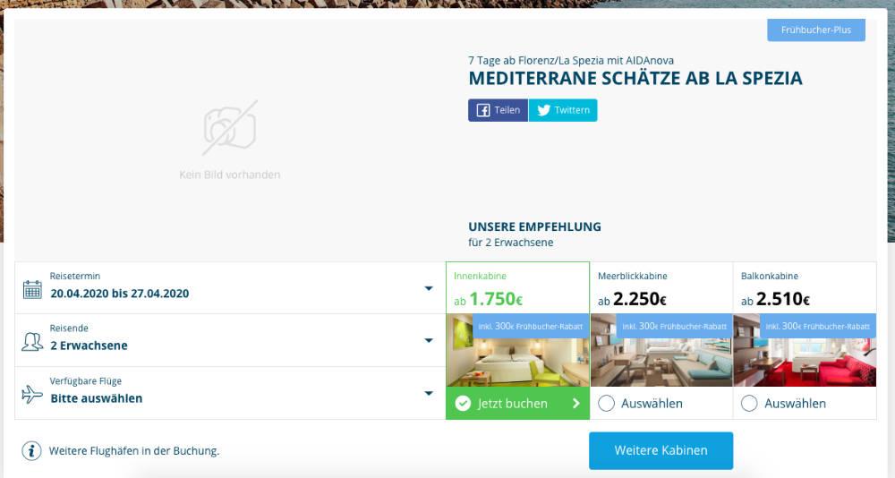 Mediterrane Schätze ab La Spezia - Screenshot: AIDA