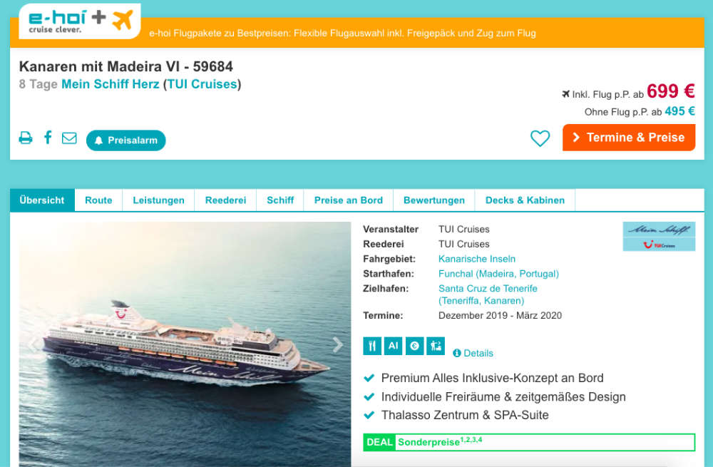 e-Hoi Mein Schiff Herz  Kanaren-Aktion im Dezember 2019 - Bildquelle: E-Hoi