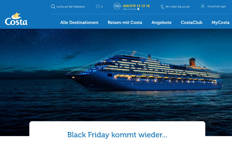 Black Friday Sale bei Costa Kreuzfahrten - Bildquelle: Costa Kreuzfahrten