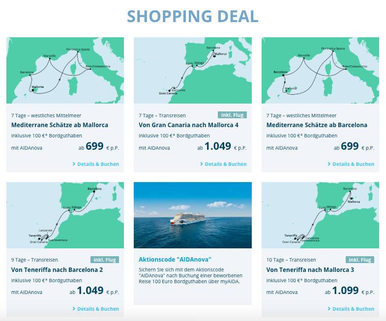 AIDAnova Shopping Deal - Bildquelle. AIDA Cruises