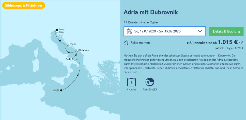 Mein Schiff 5 Adria mit Dubrovnik - Bildquelle. TUI Cruises