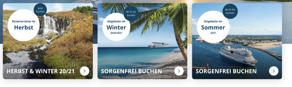 AIDA Cruises mit neuen Vario-Angeboten - Bildquelle. AIDA Cruises Webseite