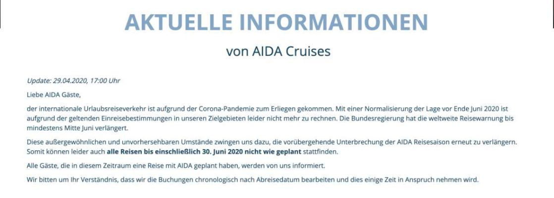 Aktuelles Statement (Stand 29.April 2020) - AIDA Cruises