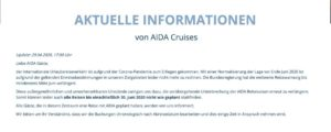 Aktuelles Statement (Stand 29.April 2020) - AIDA Cruises