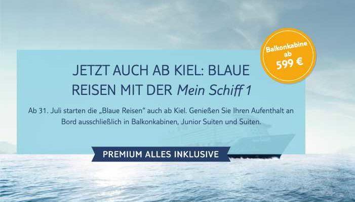 TUI Cruises: Blaue Reisen auch ab Kiel