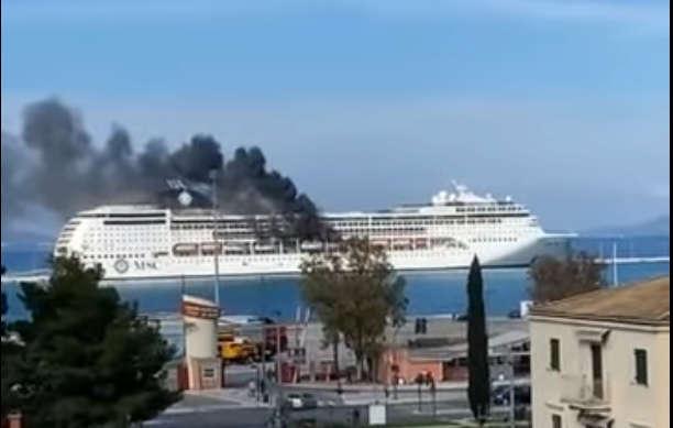 MSC Lirica: Rettungsboot brennt . Bildquelle: Screenshot Youtube-Video  JohnToledo TV