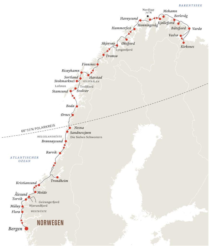 Klassische Postschiffroute - Bildquelle: Hurtigruten