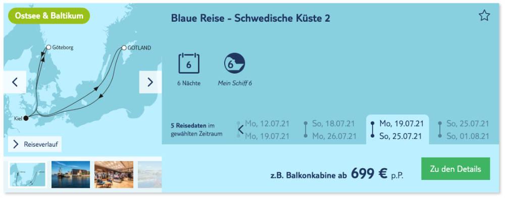 Blaue Reise: Schwedische Küste - Bildquelle: TUI Cruises