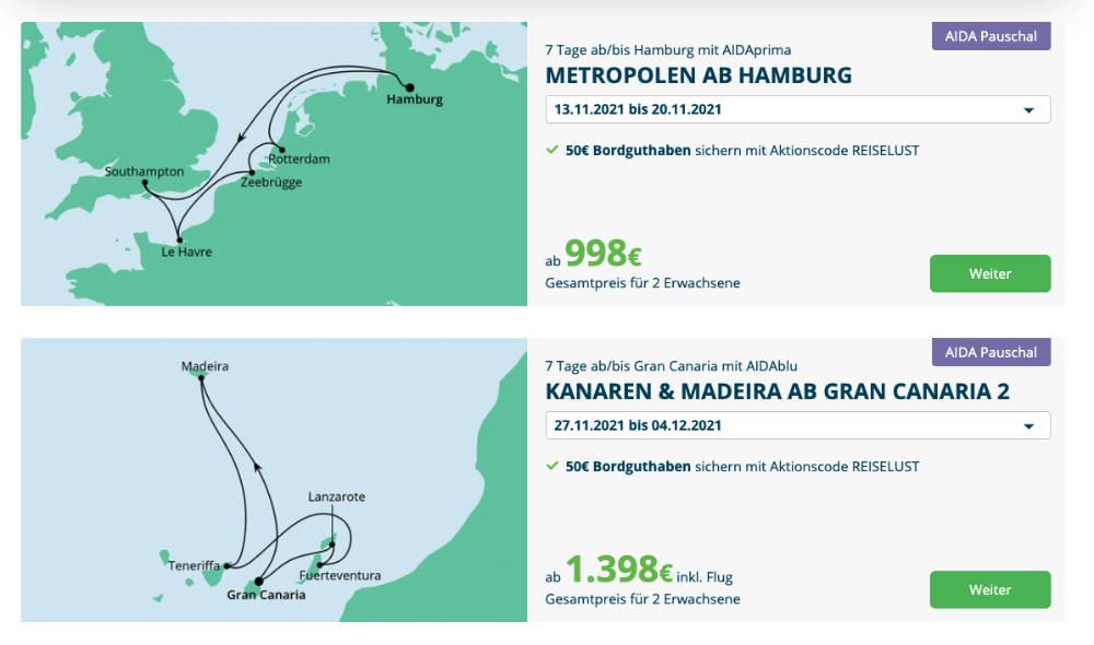 AIDA Pauschal Angebote mit 50 Euro Bordguthaben